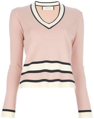Marni Edition striped v-neck sweater