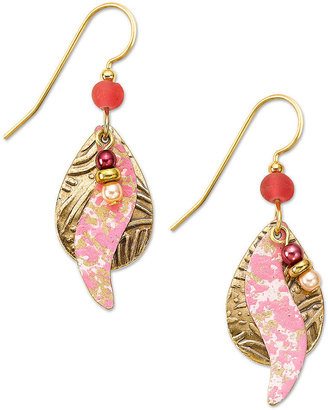 Silver Forest Earrings, Gold-Tone Pink Swirl and Seed Bead Drop Earrings