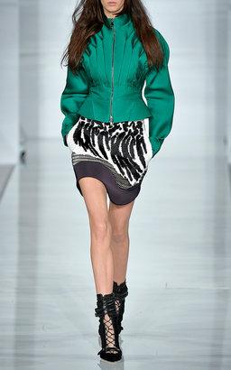 Antonio Berardi Emerald Silk Scuba Kimono Sleeve Jacket