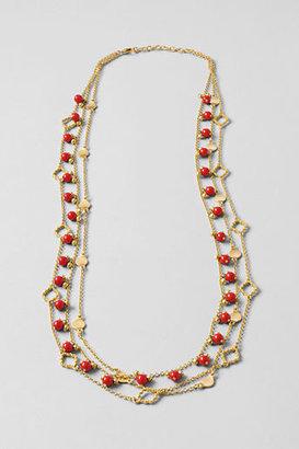 Lands' End Women's Triple Row Coral Gold Necklace