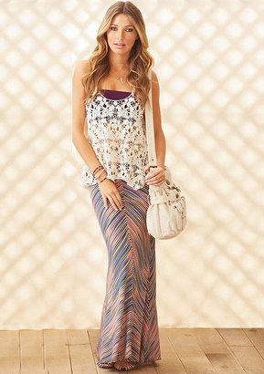 Lily White Marlina Striped Maxi Skirt