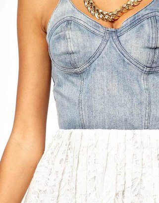 Motel Finch Dress With Denim Bustier and Lace Skirt