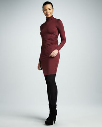 Three Dots Ruched Turtleneck Long-Sleeve Dress
