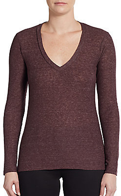 James Perse Long-Sleeve V-Neck Top
