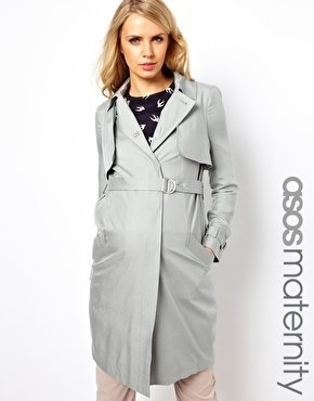 Asos Trench Coat In Soft Touch Twill - Gray