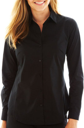 Worthington Long-Sleeve Button-Front Shirt - Tall $36 thestylecure.com