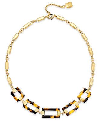 Lauren Ralph Lauren Gold-Tone Tortoise Link Frontal Necklace
