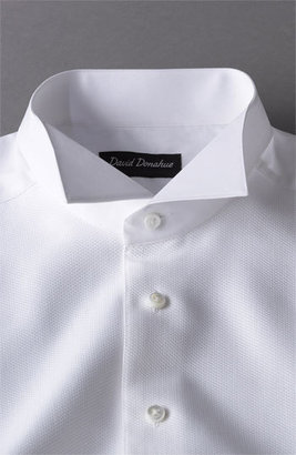 David Donahue Men's Regular Fit Bib Front French Cuff Tuxedo Shirt