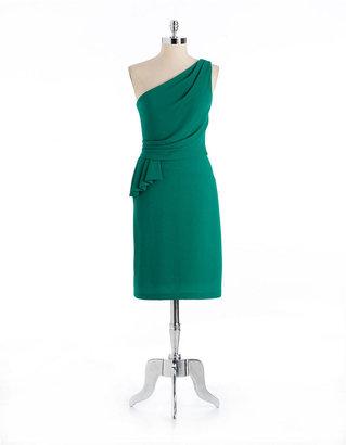 dav DAVID MEISTER One-Shoulder Faux Wrap Dress