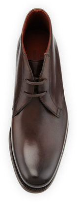Bergdorf Goodman Hand-Antiqued 2-Eye Leather Chukka Boot, Brown