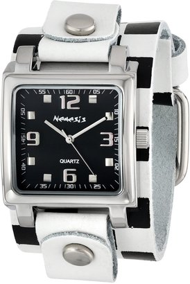 Nemesis Women's WCHB516K Lite SQ Collection Checkered White/Black Leather Band Watch