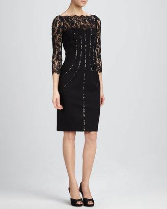 Aidan Mattox Lace-Top Cocktail Dress