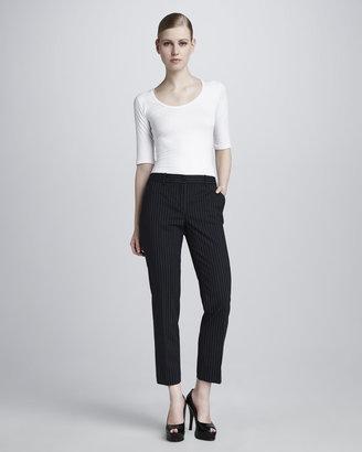Michael Kors Cropped Stretch Wool Pinstripe Pants
