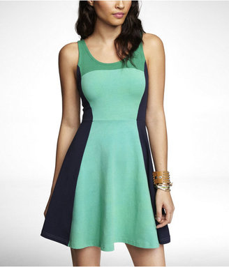 Express Color Block Stretch Cotton Skater Dress