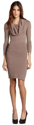 BCBGMAXAZRIA brown ash stretch cotton blend cowl neck ruched sweater dress