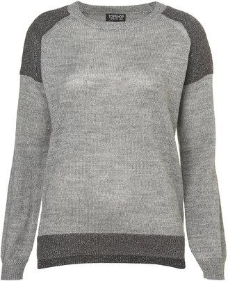 Topshop Knitted Shimmer Shoulder Sweat