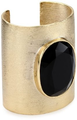 "Noir Modernist"" Large Gold Cuff with Black Detail Cuff Bracelet"
