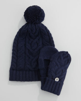 Neiman Marcus Cashmere Cable Knit Mittens, 6-24 Months, Navy