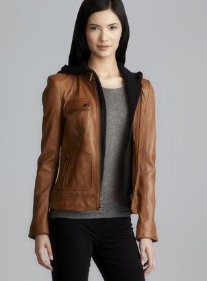 Andrew Marc New York Brown Leather Zip Front Jacket With Detachable Hood