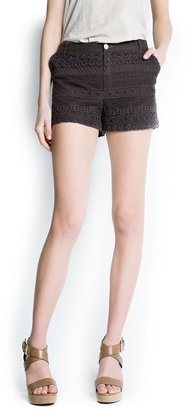 MANGO Guipure cotton shorts
