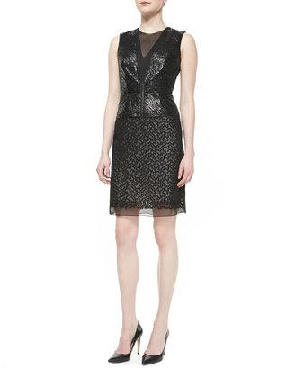 Reed Krakoff Sleeveless Crewneck Dress with Tulle, Black