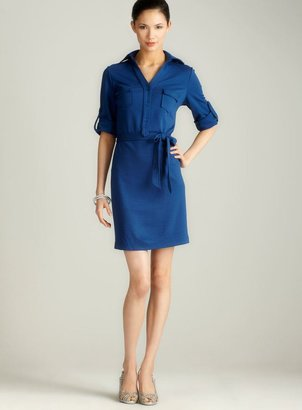 Max Studio Ponte Belted Shirtdress