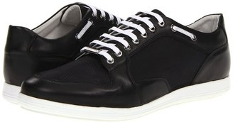Versace Leather/Tech Fabric Low Top Trainer (Black) - Footwear
