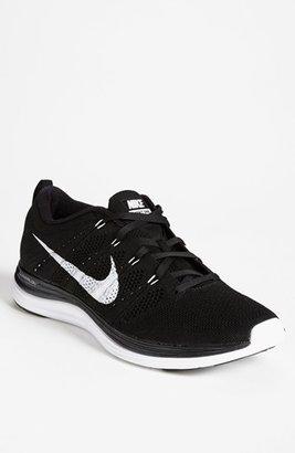 Nike 'Flyknit One+' Running Shoe (Men) Black/ White 7.5 M