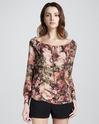 Haute Hippie Floral-Print Drawstring Blouse