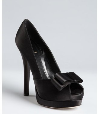 Fendi black satin bow detail platform peep toe pumps