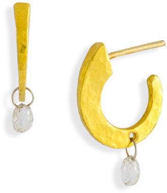 Gurhan 'Dew' Small Flat Hoop & Diamond Briolette Earrings