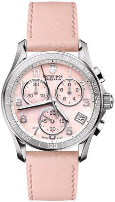 Victorinox Swiss Army Watch, Women's Chronograph Pink Leather Strap 241419