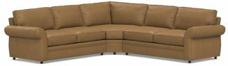 Pottery Barn Pearce Roll Arm Leather 3-Piece L-Shape Sectional with Wedge