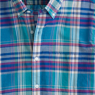 J.Crew Indian cotton short-sleeve shirt in lagoon blue plaid
