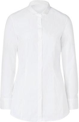 Brunello Cucinelli White Cotton Stretch Shirt with Petite Collar