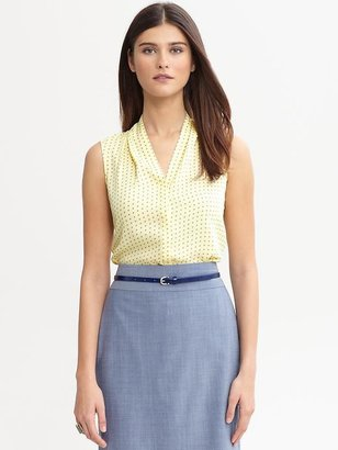Banana Republic Printed covered-placket blouse