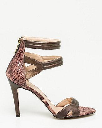 Le Château Italian-Made Snake Print Leather Sandal