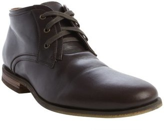 John Varvatos espresso leather lace up low cut boots