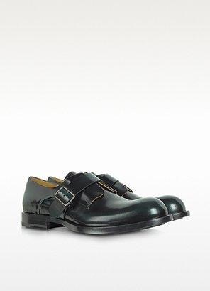 Jil Sander Black and Green Monk Strap Oxford Shoes