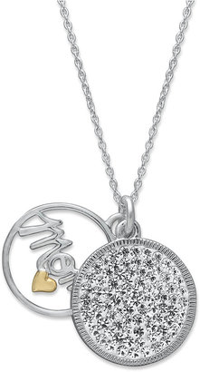 Inspirational Sterling Silver Necklace, Mom Pave Crystal Double Circle Pendant