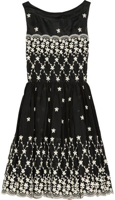 RED Valentino Embroidered cotton and silk-organza dress