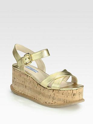 Prada Saffiano Metallic Leather Cork Wedge Sandals