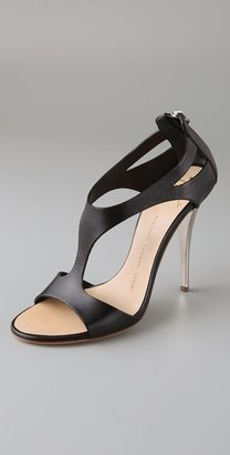 Giuseppe Zanotti Shoes T Strap Sandal on Silver Heel