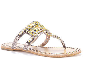 Cynthia Vincent Lux Studded Embroidered Snake Leather Thong Sandal