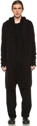 Rick Owens Hooded Cardigan in Black