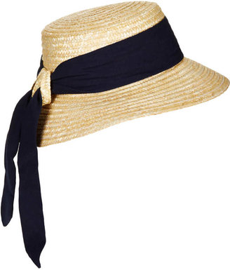 Topshop Structured Ribbon Boater Hat