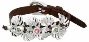 Uno de 50 Jungle Leaves Silver & Leather Buckle Bracelet