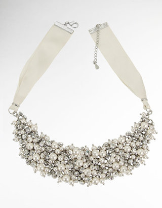 Nina JEWELRY Satin Ribbon Necklace with Crystals and Glass Pearls