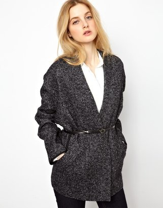 See by Chloe Herringbone Wool Wrap Coat