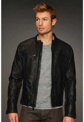 John Varvatos Leather Moto Jacket (Black) - Apparel